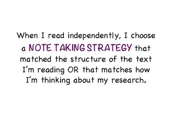 Reading and Research Mini-Charts and Strategies