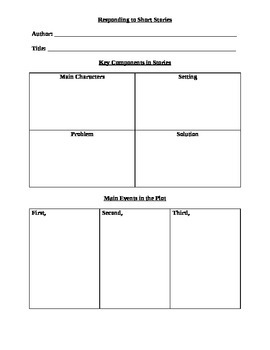 Reading and Responding to Short Stories Note-Taking Exercise