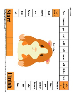 Reading and Spelling High Frequency Sight Word Game Boards Level I