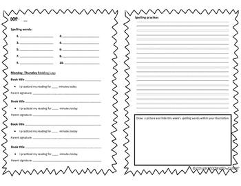 Reading and Spelling Homework Task