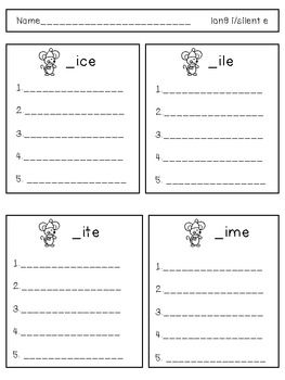 Reading and Spelling Patterns, Three Blind Mice , Long i-silent e