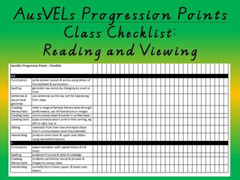 Reading and Viewing - AusVELs progression points - Class checklist