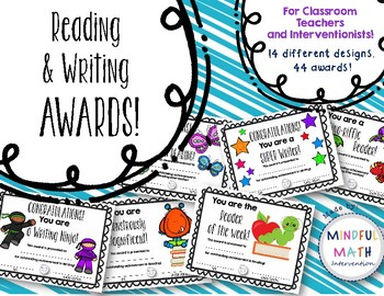 Reading and Writing Award Certificates for Classroom or Intervention