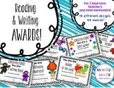 Reading and Writing Award Certificates for Classroom or In