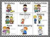 Reading and Writing (daily 5) Choice Board Black Dots