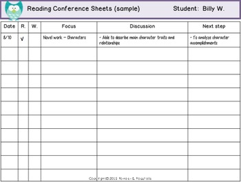 *FREE* ~ Reading and Writing Conference Sheets