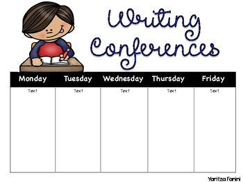 Reading and Writing Confrence Schedule & Math Groups (editable) DL