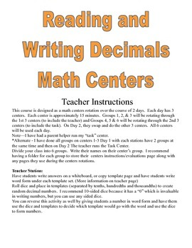 Reading and Writing Decimals Math Centers Games and Activities