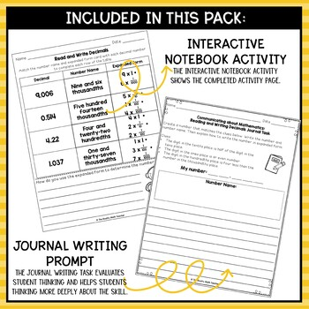 Reading and Writing Decimals- Math Center Activity and Printables Pack
