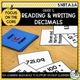 Reading and Writing Decimals- Math Center Activity and Pri