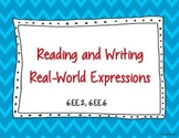 Reading and Writing Expressions Task Cards 6.EE.2, 6.EE.6