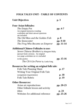 Reading and Writing FOLKTALES:  A Genre Study