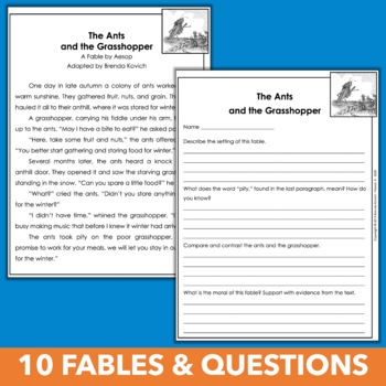 Reading and Writing Fables Unit for Third Grade, Fourth Grade, and Fifth Grade
