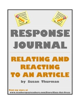 Reading and Writing Fun: Response Journals (8 Pages, $5)