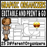 Retelling and Comprehension EDITABLE Graphic Organizers fo