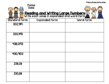 Reading and Writing Large Numbers Puzzles
