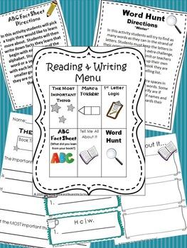 Reading and Writing Menu