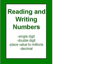 Place Value Reading and Writing Numbers