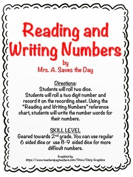 Reading and Writing Numbers Dice Center