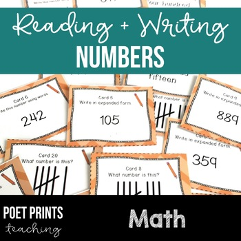 Reading and Writing Numbers, Task Cards Math Center