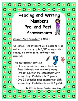 Reading and Writing Numbers Pre- and Post-Assessments