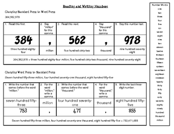 Reading and Writing Numbers (Teaching Tool)