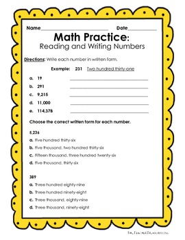 Reading and Writing Numbers in Expanded Form, Standard Form and ...