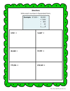 Reading and Writing Numbers in Expanded Form, Standard Form and Written Form