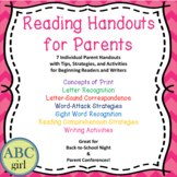 Back to School Meet the Teacher Reading and Writing Parent Handout