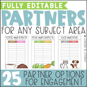 Reading and Writing Partners {Editable}