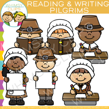 Reading and Writing Pilgrims Clip Art