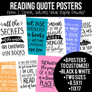 Reading and Writing Quotes Posters Bundle in Black and White