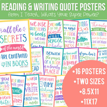 Reading and Writing Quotes Posters Bundle in Happy Brights