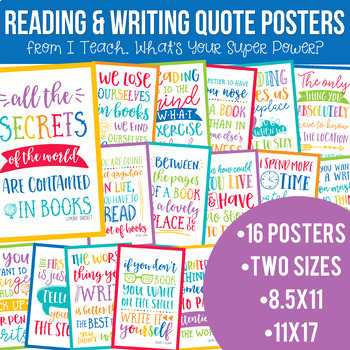 Reading and Writing Quotes Posters Bundle in School Brights