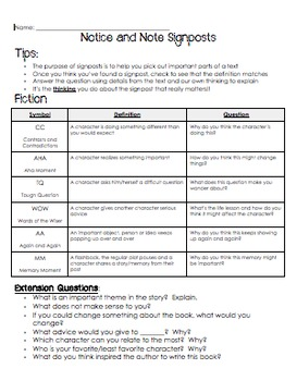 Reading and Writing Reference Sheets