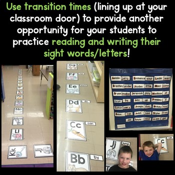 READING and WRITING Sight Words at EVERY Transition for Kinder and 1st Grade