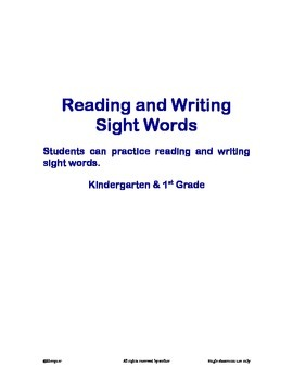 Reading and Writing Sight Words