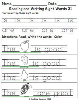 Reading and Writing Sight Words Pack 2