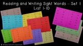 Reading and Writing Sight Words Program - Set 1, Lists 1-10