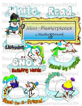 Clip Art: Reading Writing SnowFriends-Daily Reading Groups by HeatherSArtwork