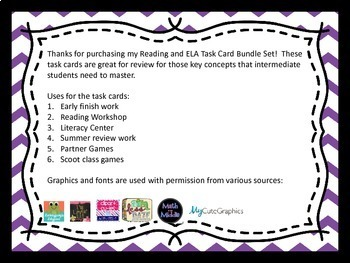 Reading and Writing Task Card Bundle - Over 300 Task Cards!