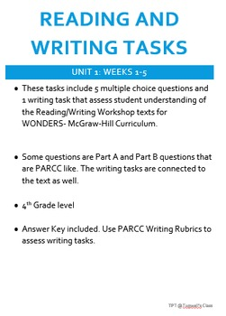 Reading and Writing Tasks for WONDERS Reading/Writing Workshop UNIT 1