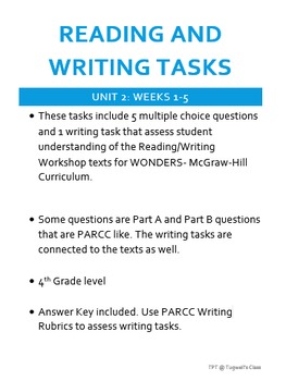 Reading and Writing Tasks for WONDERS Reading/Writing Workshop UNIT 2