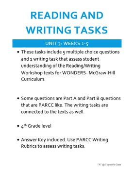 Reading and Writing Tasks for WONDERS Reading/Writing Workshop UNIT 3