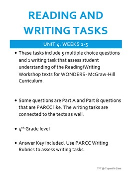 Reading and Writing Tasks for WONDERS Reading/Writing Workshop UNIT 4