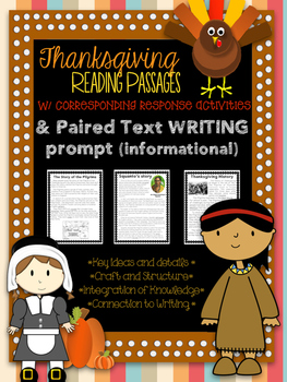 Thanksgiving Passages for close reading, writing, homework