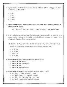 Reading and Writing Whole and Decimal Numbers