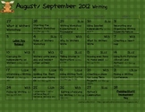 Reading and Writing Workshop Calendar/Rubrics Moose Theme