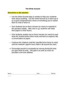 Reading and Writing: Write-Around Template, for ANY TOPIC