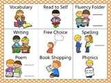 Reading and Writing (daily 5) Choice Board Orange Dots